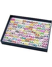 Orecchini Donna, Comius 100 Paia Orecchini da Ragazza, Fatti a Mano Ipoallergenico Ceramica Morbida Misto Colore Set per le Donne Ragazze