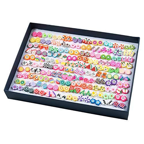 Pendientes para niñas, Comius 100 Pares Hecho a mano Hipoalergénico Color mezclado Cerámica suave Animales Pendientes de botón para Mujeres (Aguja de plastico)