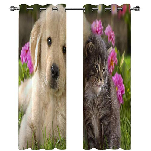 QHDIK Printed Blackout Curtains For Children Dog and cat Eyelet Curtain Thermal Insulated Room Darkening Curtains for Children Bedroom Nursery Living Room Set of 2 Panels 46 x 72 inch