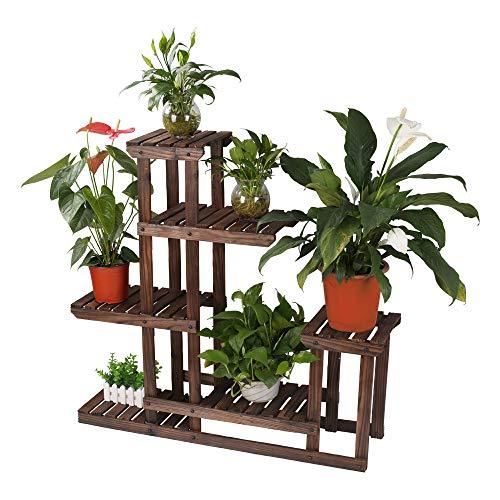 Multi Tier Wood Flower Rack Plant Stand Wood Shelves Bonsai Display Shelf Indoor Outdoor Yard Garden Patio Balcony Multifunctional Storage Rack Bookshelf Rack/Decorative Planter Pot Display Stand Pot