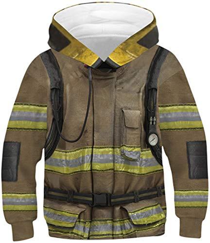 FLYCHEN Jungen Kapuzenpullover NASA Pullover Feuerwehrkleidung Pullover Ugly Pullover Halloween Weihnachten Karneval 3D HD Druck Serie Hoodie (Feuerwehrkleidung 191,s)