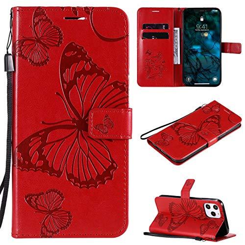 SOUFU Handyhülle für Xiaomi Poco X3 Pro/X3 NFC Hülle,Geprägtes Baumblattmuster Premium PU Leder Tasche Magnetverschlüsse Schutzhülle-rot
