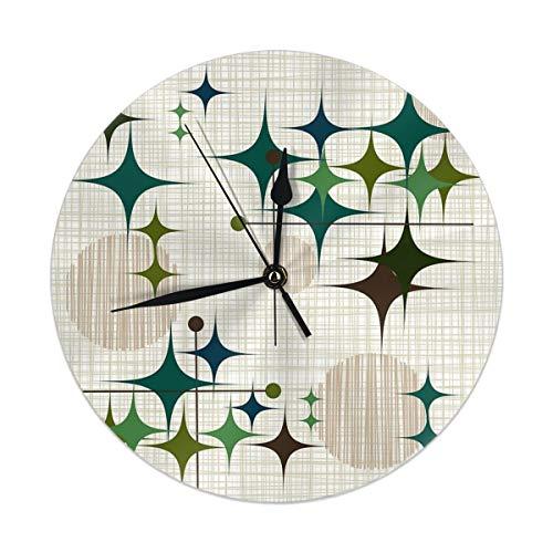 Uliykon Eames Era - Reloj de Pared con diseño de Estrellas y Globos, silencioso y no Hace Ruido - Reloj de Cuarzo de PVC para casa, Oficina, Escuela, Decorativo, Redondo, 9.8 Pulgadas