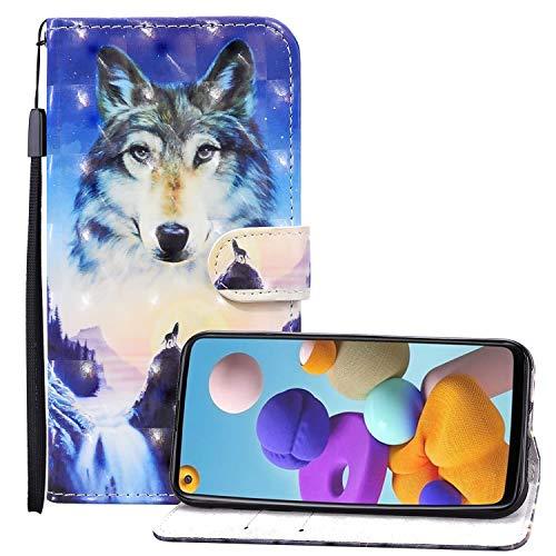 Nadoli 3D Effekt Brieftasche für Samsung Galaxy A20S,Cool Sonnenaufgang Wolf Muster Pu Leder Magnetverschluss Kartenfächer Flip Tasche Schutzhülle mit Standfunktion
