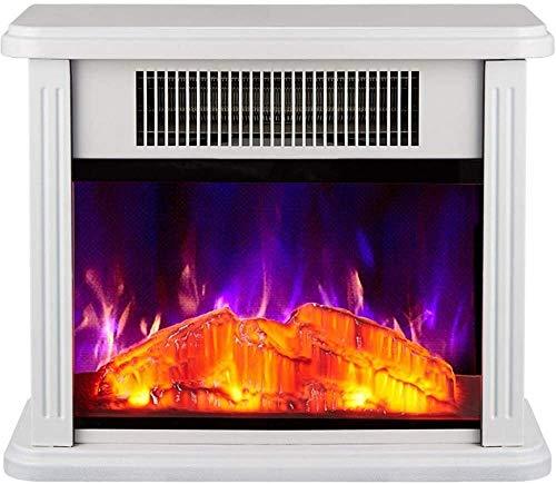 BBJOZ Hornos chimeneas Estufa eléctrica Calentador con Registro Burner Llama Efecto con Ajustable termostato de regulación de la Sala Planta Permanente 750 / 1500W (Color : White)