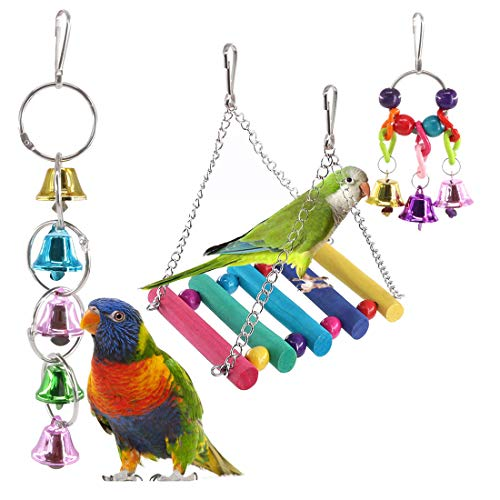 Keadic 3 Piece Bird Parrot Toys, Bird Hanging Shredding Swing Chew Toys Bell Pet Bird Cage Hammock Toy for Parakeets, Cockatiels, Conures, Finch and Love Birds