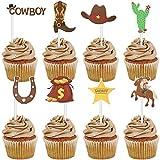 72 Piezas de Vaquero Cupcake Toppers Tema Occidental Cake Topper Pastel de Vaquero selecciones de Frutas para cumpleaños de Vaquero Suministros de Fiesta de Vaquera Decoraciones Occidentales