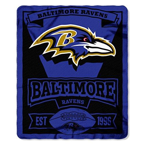The Northwest Company 1NFL/03102/0077/AMZ NFL Baltimore Ravens Marque Printed Fleece Throw, 50' x 60', Baltimore Ravens, 50 x 60'