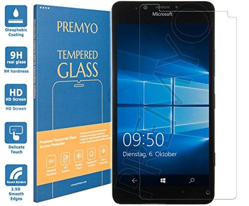 PREMYO Cristal Templado Protector de Pantalla Compatible con Microsoft Lumia 950 Dureza 9H Bordes 2,5D Sin Burbujas contra Arañazos