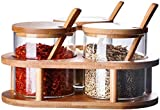 GUYUE Juego de tarros de condimento de Vidrio Transparente, frascos de Especias Multiusos con Cuchara de Tapa de bambú de Spice y Base de Madera-a (Color : A)