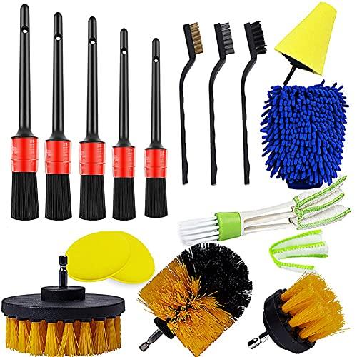 Auto Car Detailing Kit Interior Exterior - 5 Detail Brush, 3 Wire Brush, 3 Drill Brush, 2 Car Wash Sponge,1 Cone Sponge,1 Microfiber Mitt, 1 Automotive Air Vent Brush and Cloth