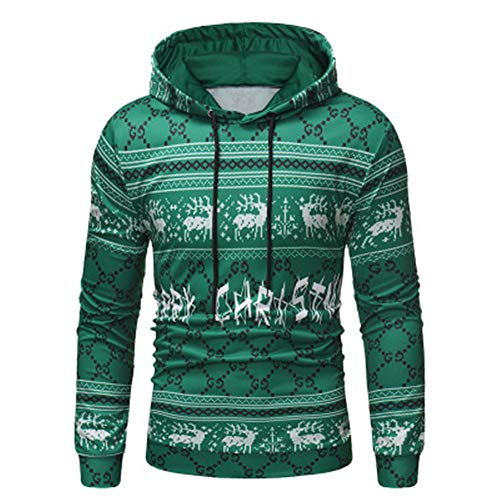 Herren Kapuzenpullover mit kreativem Weihnachtsdruck für Herbst und Winter Gr. Medium, grün