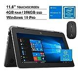 2020 Newest HP ProBook X360 G3 11.6 Inch Touchscreen 2-in-1 Laptop| Intel Celeron N4100 up to 2.4GHz| 4GB DDR4 RAM| 256GB SSD|HDMI| Webcam| Windows 10 Pro + NexiGo Wireless Mouse Bundle