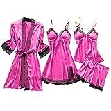Lazzboy Dessous Frauen Silk Lace Babydoll Nachtwäsche Nachthemd Pyjamas Set Kimono Damen Morgenmantel Satin Bademantel Seide Roben V Ausschnitt Mit Blumenspitze(Pink,L)