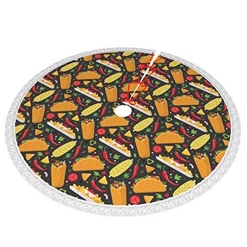 Unique Life - Plato latino con tortilla Tacos de maíz Burrito Chili Nachos Veggies Red Cook Graphic 76,2 cm para árbol de Navidad Decoraciones de Navidad Adornos de árbol