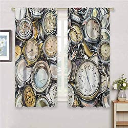 Clock Thermal Insulated Blackout Curtain, Antique Theme A Pile of Several Different Vintage Style Clocks Retro Pattern Design Colorful Design Panel Pair Drapes for Bedroom, 63 Wx72 L Gold Beige