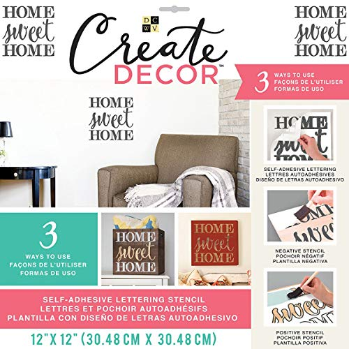 """GC5150-264 DCWV Create Decor Self-Adhesive Lettering & Stencil 12""""X12""""-Home Sweet Home-Gray"""