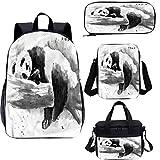 Panda 4 en 1 mochila escolar y bolsa de almuerzo, juego de mochila 4 en 1