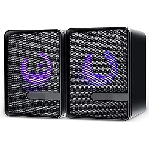 TYGH Altavoces PC,6W Altavoz PC Gaming,USB 2.0 Sonido Estéreo,Control Integrado, LED RGB Mejorado para Escritorio Móvil,Casa,Viaje,Oficina,Fiesta,Ordenador Portátil,Regalo (Color : Black)
