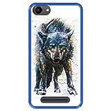 Hapdey silikon Hülle für [ Wiko Jerry - Lenny 3 - K-Kool ] Design [ Wolf, Aquarelle ] Blau Flexibles TPU