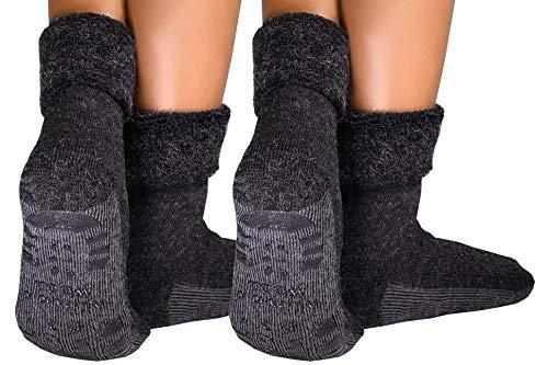 dunaro 2 Paar ABS Anti Rutsch Socken Alpaka Socken Stoppersocken Noppensocken Damen und Herren (2 Paar / 39-42 Anthrazit)