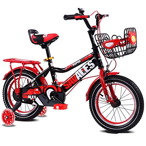 Kraftstationen Kinderfahrrad Kinder Jungen Gilrs Fahrrad mit Stablizers 12inch Alter 3-5Y (Color : Red)