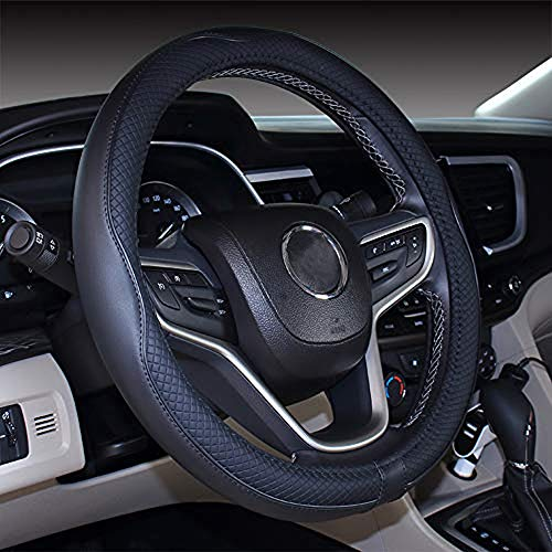 Mayco Bell Microfiber Leather Car Medium Steering wheel Cover (14.5''-15'',Black)