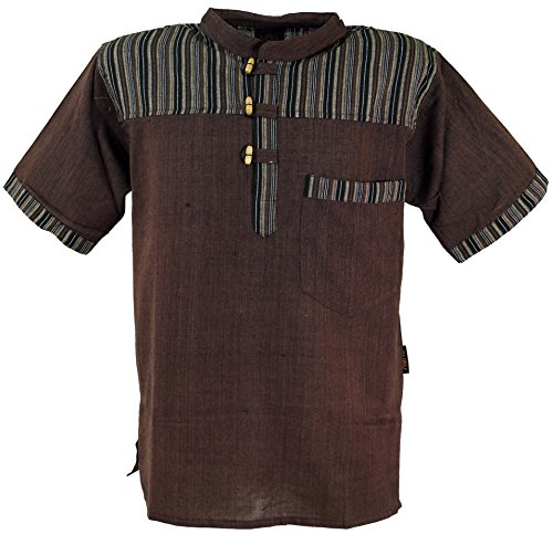 GURU SHOP Nepal Fischerhemd, Gestreiftes Goa Hippie Kurzarmhemd, Herren, Coffee, Baumwolle, Size:XL, Hemden Alternative Bekleidung