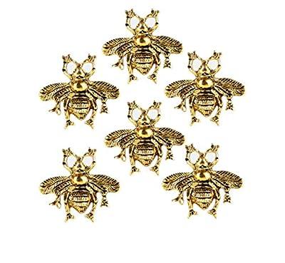 Set of 6 Brass Bee Knob Furniture Brass Knob for Home Decorative Pull for Cabinet Drawer Cupboard Dresser Bathroom Kitchen Wardrobe by Perilla Home