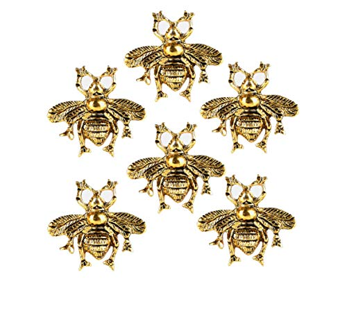 Set of 6 Bee Knobs Decorative Knobs for Home Kitchen Cabinet Cupboard Glass Door Dresser Wardrobe and Drawer Pulls by Perilla Home (Brass)