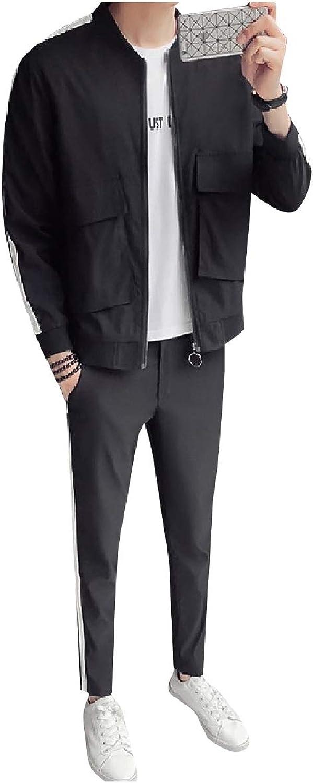 TaoNice Men's Slim Running Sports Autumn Pockets Jacket & Long Pants Set