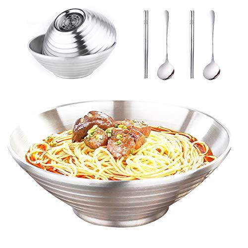 Ramen Schüssel 6er-Set, Edelstahlschüssel Schüssel Set, Verwenden Sie als Rührschüssel, Salatschüssel, Aufbewahrungsschüssel, Servierschale, 1000 ml