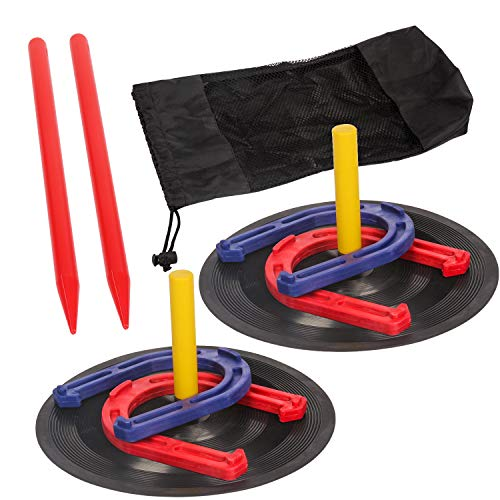 TOYSHARING Plastic Horseshoes Game Safety Rubber Horseshoe Set Durable Toy Horse Shoes Kit Outside Toss Game for Kids Children Adults Yard Lawn Beach Sports Outdoor Indoor Party Toy