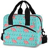 Oarencol Bolsa de almuerzo térmica con diseño de flamencos rosados, reutilizable, con correa para el hombro, para el trabajo, picnic, escuela, playa