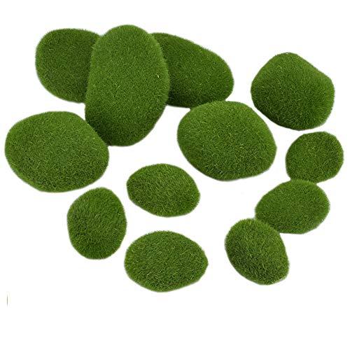 CODIRATO 12 Stück Künstliche Moos Steine Mooskugel Kleine Moos Felsen Grüne Moosbälle Deko Simulation Moos für Blumentopf, Garten, Terrarien, Topfpflanzen Dekoration, Mikrogarten