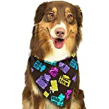 Wfispiy Vector Colorido con Regalos patrón Pascua Perro Bandana Reversible triángulo Baberos para Perros Mascotas Animales