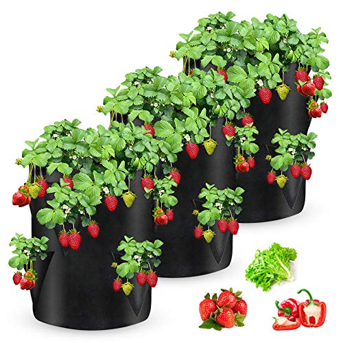 SRJTEK Strawberry Grow Bags, 3 Pack Strawberry Planter with 6 Side Grow Pockets, Breathable Non-woven Fabric Reinforce Handle Strawberry Growing Bag for Garden Strawberries, Herbs, Flowers