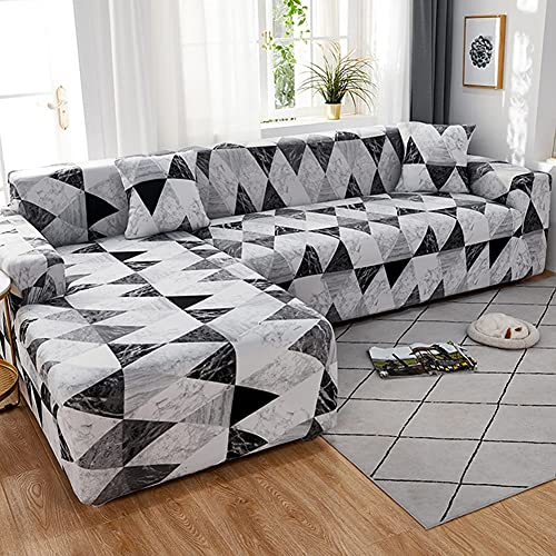 WXQY Elastische geometrische Sofabezug für das Wohnzimmer, rutschfeste Sofabezug mit L-förmigem Querschnitt, Enge elastische Sofabezug A14 1-Sitzer