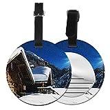 Etichette per Bagagli, Viaggio Bagagli Tag in Pelle PU Con Copertina Posteriore per La Borsa Da Viaggio, Stazione sciistica Montagne boschi