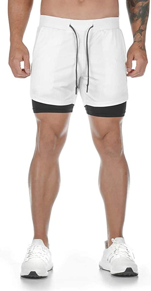 Men/'s 2 in 1 Sports Shorts Running Gym Athletic Sweat Shorts With Towel Loop K