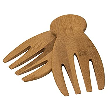 Totally Bamboo 20-2054 Salad Hands, 100% Organic Bamboo Salad Servers + Serving Tongs. Beautiful Craftsmanship + ALL NATURAL & FOOD-SAFE (w/knob stand!)