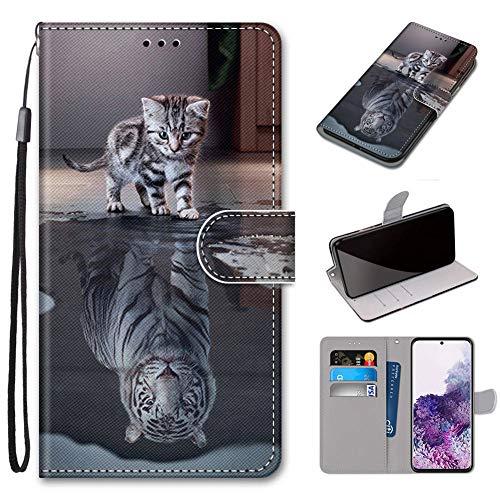 GARITANE Custodia Cover per ASUS ZenFone Go ZB500KL,Bumper Protectiva PU Pelle Flip Case Shock-Absorption Portafoglio (Gatto Tigre)