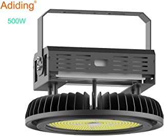 Adiding LED High Bay Light,500W UFO Hi-Bay Lighting(2000W HID/HPS Equivalent) 65000 Lumens 130Lm/W Meanwell Driver Dimmable 5000K,Lumileds SMD 3030 LED for Garage Warehouse,UL Listed,IP65-Black