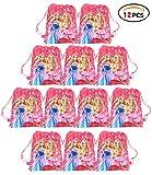 Qemsele 12 Pièces Sac de fête pour Enfant, Dessin animé Sac à Dos Sacs à Cordon Sac de Gym Garçons Filles pour Thème Décorations Réutilisable Sac Cadeau de Fête Anniversaire Noël Sacs de fête (Barbie)