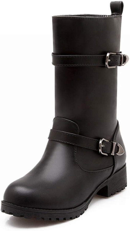 IG Damenschuhe - Herbst Und Winter Wies Stiefel England Niedrige Ferse Stiefel Warme Stiefel 34-43,Schwarz,35    Clever und praktisch