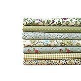 NOBRAND 7pcs de la Serie Verde/Set Tela 50x50cm Paquetes Impresa Flor de algodón Remiendo de la Tela de Costura Tela