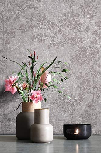 NEWROOM Tapete Grau Vliestapete Blumen - Blumentapete Floral Weiß Taupe Blätter Blüten Mustertapete Modern Natur inkl. Tapezier-Ratgeber