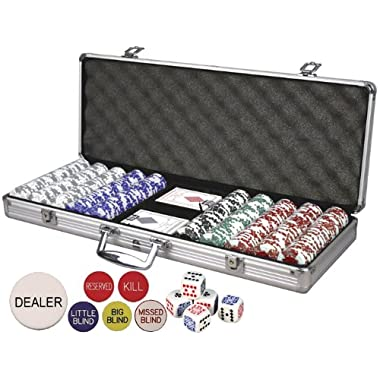 Da Vinci Premium Set Poker Set with Card-Suited Poker Chips, 6 Dealer Buttons, Cards, Dice