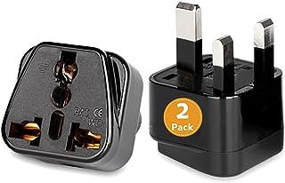 [2-Pack]US USA America/ Canada/ EU Europe European/ AU to UAE and UK Plug Converter, 3-Pin Travel Adapter Plug, Universal ...