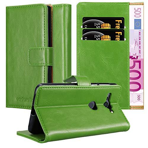 Cadorabo Hülle für Sony Xperia XZ2 Compact in Gras GRÜN – Handyhülle mit Magnetverschluss, Standfunktion & Kartenfach – Hülle Cover Schutzhülle Etui Tasche Book Klapp Style